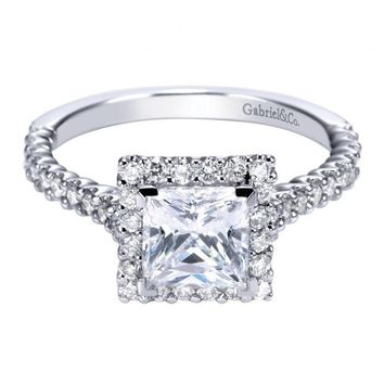 1.72cttw Princess Cut Halo Diamond Engagement Ring with Prong Set Side Diamonds