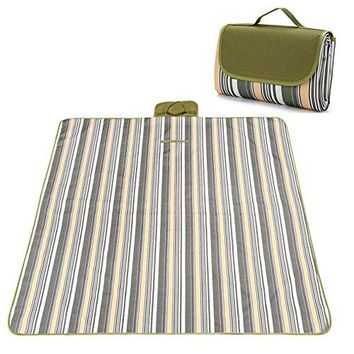 Picnic & Outdoor Extra Large Blanket For Outdoor Water-Resistant Handy Mat Tote Spring Summer Striped for the Beach,Camping on Grass Waterproof Sandproof (78'' x 57'', Green Plaid)
