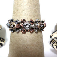 Tri-tone silver, gold and copper sea life turtle charm stretch bracelet, gift
