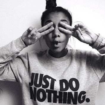 women just do nothing sudaderas mujer fashion women casual long sleeve hoodie jumper pullover sweatshirt tops shir