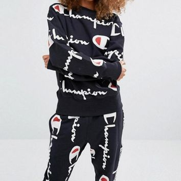 Champion Trending Unisex Casual Long Sleeve Logo Print Sport Running Pullover Sweater Pants Trousers Set Two-Piece Black