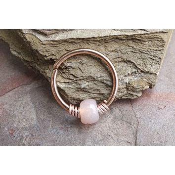 16g 18g or 20 Gauge Rose Gold Beaded Peach Nose Hoop Ring or Cartilage Hoop Earring