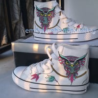 Dreamcatcher Converse Sneakers with Owl-Custom Shoes Owl and Dreamcatcher Inspired