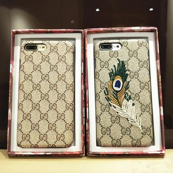 GUCCI Fashion Feather iPhone Phone Cover Case For iphone 6 6s 6plus 6s-plus 7 7plus iphoneX