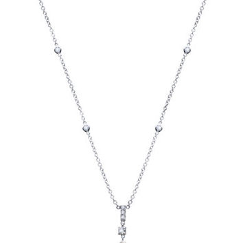 Crislu Sterling Silver Pearl and Crystal Pendant Necklace