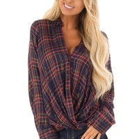 Plum and Rust Plaid Twist Button Up with Gold Details