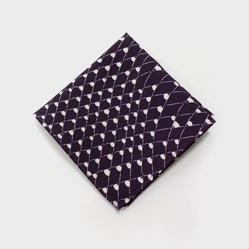 Pocket Square, Fishing Net with cream on purple