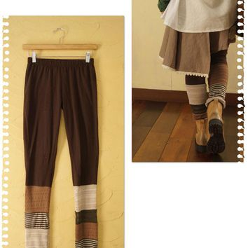Hippie Chic Patchwork Knit Leggings