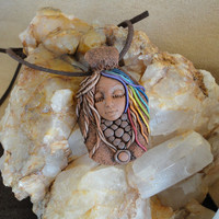 Chakra Goddess Free Spirit Hippie Gypsy Necklace Boho Style Jewelry Sam Art Clay Pendant