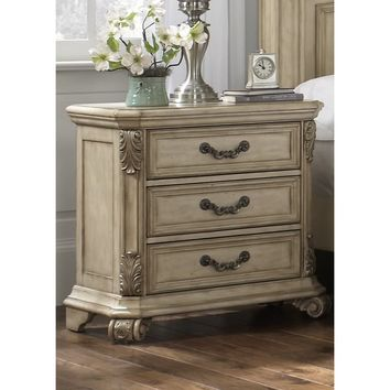 Messina Estates IIAntique Ivory 3-drawer Nightstand | Overstock.com Shopping - The Best Deals on Nightstands