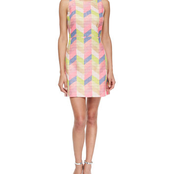 Couture Chevron Shift Dress, Size: