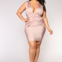 Name Drop Bandage Dress - Mauve