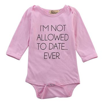 Cute Newborn Baby Girl Clothes Cute Long Sleeve Letter Pink Bodysuit Jumpsuit Outfits One-pieces