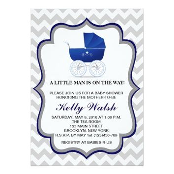 Baby Shower Invitations Vintage Carriage Chevron