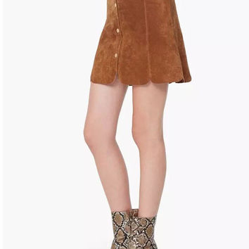 Sweet Solid Color Suede Mini Skirt