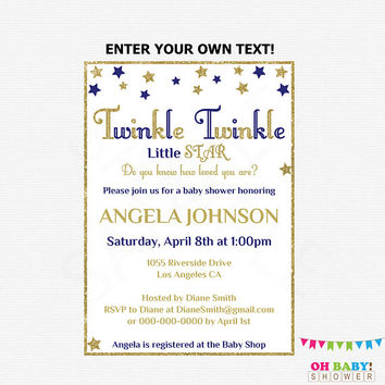 Twinkle Twinkle Little Star Baby Shower Invitation, Editable PDF, Navy and Gold Baby Shower Invitation, Boy Baby Shower, Printable, STNG