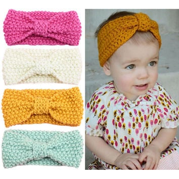 New Baby Knit Crochet Top Knot Elastic Turban Headband Baby Girls Head wrap Hair Bands Ears Warmer Baby Headband Accessories