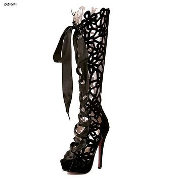 Women Fashion Platform Lace Up Cut Out Knee High Boots Sexy High Heels Open Toe Party Shoes Long Summer Boots Stiletto yl322