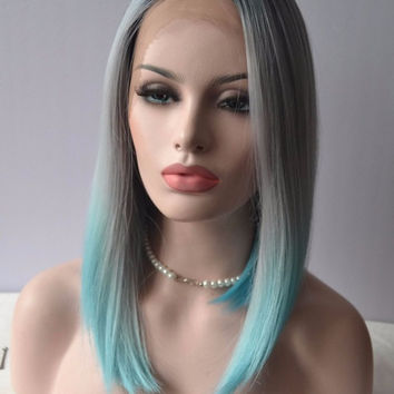 Sexy Ombre Grey to Light Blue Custom Colored Complete Peruca 16 Inch