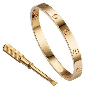 Mother's Day 14K Gold Iced Cartier Love Charm Bangle Bracelet in 925 Silver