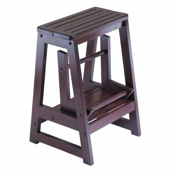Antique Walnut Folding Step stool by Winsome Woods