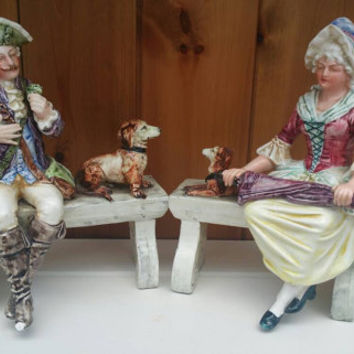 Antique pair fine porcelain figurines/French porcelain figurines/18th century porcelain figurines/1700s seated figures with dogs