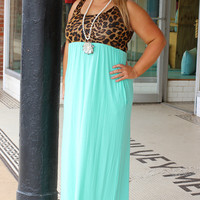 Jane In The Jungle Leopard Print Maxi Dress With Pockets ~ Mint ~ Sizes 12-18