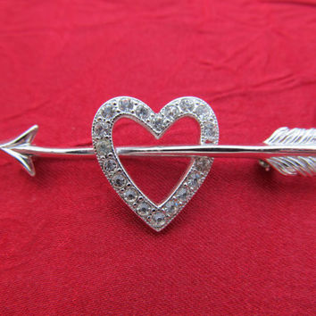 BEAU Sterling Rhinestone Heart & Arrow Pin