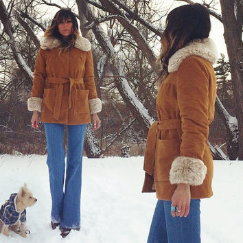 Vintage 1960's 1970's CARAMEL Penny Lane Faux Fur Warm Shearling Coat || Size Small