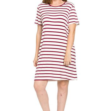 All About Stripes Dress Plus Size Wine