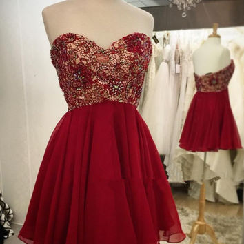 Lovely Short Burgundy Lace Beaded Prom Dresses Burgundy Homecoming Dresses
