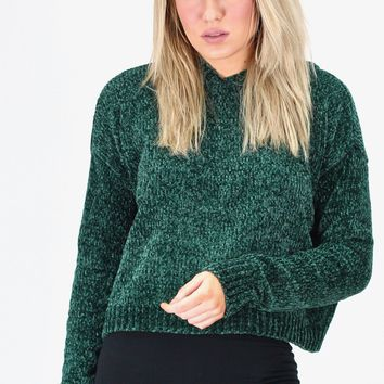 Cropped, Chenille Knit Hooded Sweater {Pine Green}