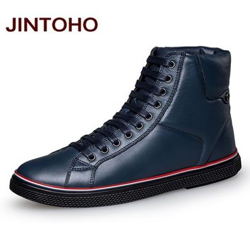 JINTOHO Big Size Men Ankle Boots Fashion Genuine Leather Winter Men Shoes Quality Real Leather Shoes For Men Italian Men Booties