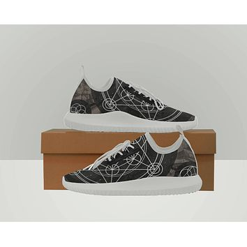 Geometric Design Shoes Sacred Geometry Shoes Vanns Type Canvas Shoes Converse Type  Black and White Womens Shoes