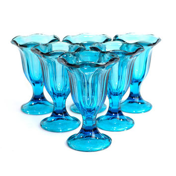 Blue Glass Sundae Pedestal Cups (Set of 6) - Retro Ice Cream or Parfait Serving, Kitchen or Party Buffet Color Pop - Vintage Home Decor