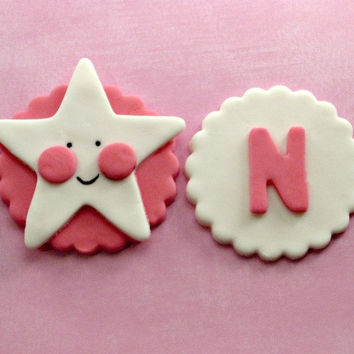 Little Happy Star & Initial Birthday Party Fondant Cupcake, Cake, Cookie Toppers. Set of 12 (one dozen) 6 of each pattern. Any color!