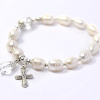 Prayer Beads, White Cultured Fresh Water Pearls, Rosary Bracelet, Silver colored Cross and Accents, Swarovski charm bead