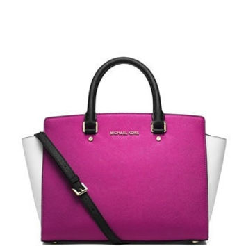 Michael Michael Kors Large Colorblock Selma Top Zip Satchel