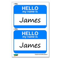 James Hello My Name Is - Sheet of 2 Stickers