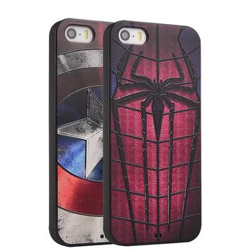 Batman Dark Knight gift Christmas For iPhone 5 5s SE 6 6plus 6s 7 7plus Plus case Marvel Spiderman Captain America Soft Silicon 3D Stereo Relief Painting  Cover AT_71_6