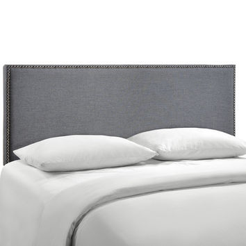 Region Queen Nailhead Upholstered Headboard in Gray Smoke