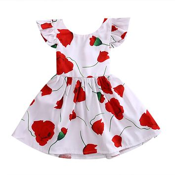 Flower Girls Princess Dress Kid Baby Party Pageant Floral Red Rose Tutu Dresses