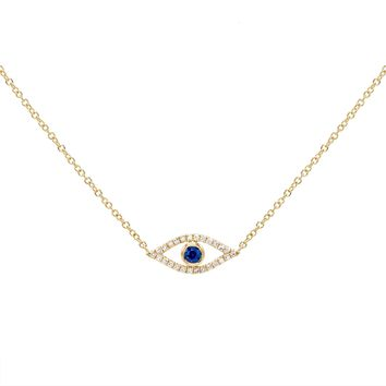 Diamond Evil Eye Necklace 14KT