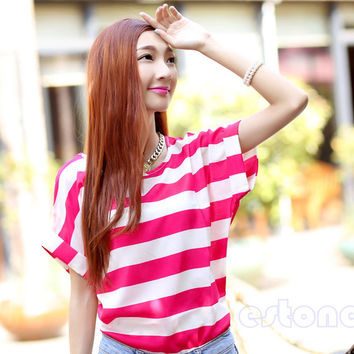 Colorful Short Sleeve Batwing T-Shirt