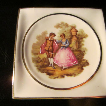 Limoges France Square Romantic Plate Signed Fragonard
