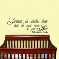 Housewares Vinyl Decal Winnie the Pooh Quote Sometimes the Smallest Things Take the Most Room in Your Heart Home Wall Art Decor Removable Stylish Sticker Mural Unique Design for Room Baby Kid Nursery