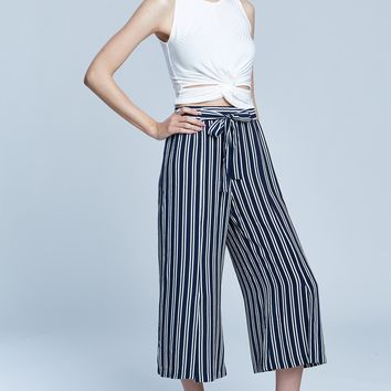 Allover Striped Slit Palazzo Cropped Self-Tie Pants