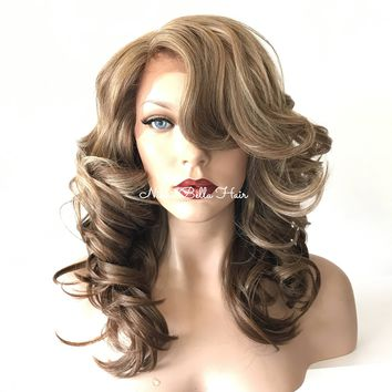 Honey Balayage' Silky Swiss Human Hair Blend Multi Parting lace front wig 14' 41723