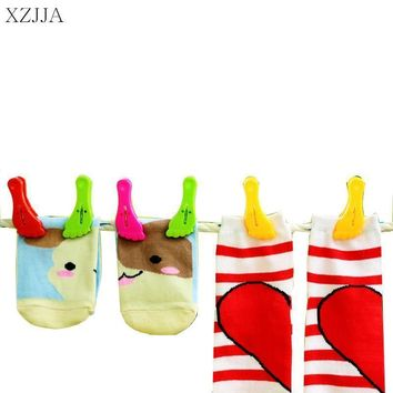 XZJJA 6Pcs Little Feet Clothes Pegs Socks Bed Sheet Towel wind-proof Pins Clips Household Clothespins Arts Photo Paper Clamp