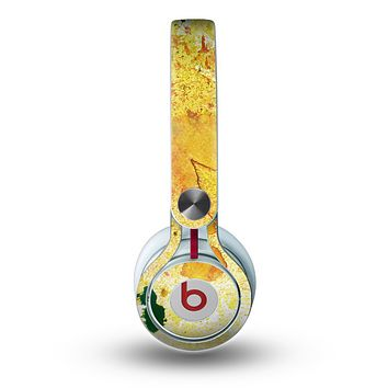 The Yellow Leaf-Imprinted Paint Splatter Skin for the Beats by Dre Mixr Headphones